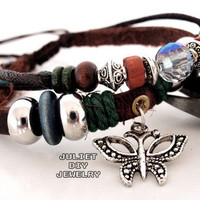 Silver butterfly charm leather bracelet  from Urban Zen Jewelry Boutique