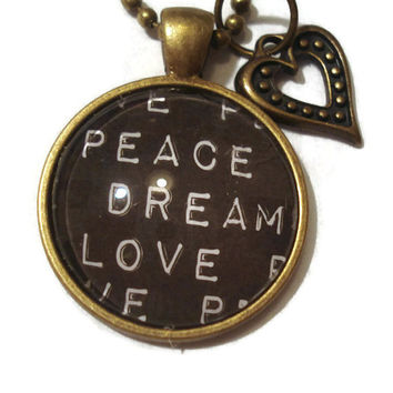 Love Peace Dream Glass Pendant Necklace with Vintage Heart Charm