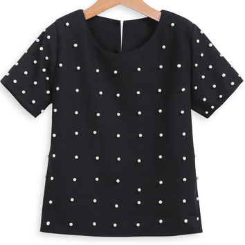 Black Round Neckline Short Sleeve Beaded Blouse