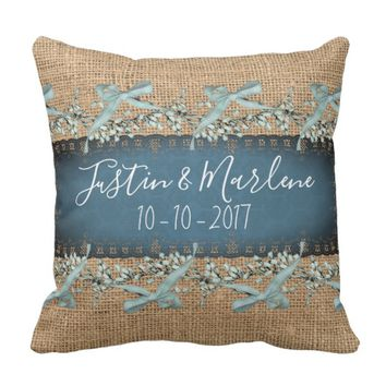 Burlap & Lace & bows Keepsake Anniversary Pillow