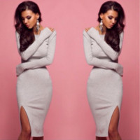 Fall and winter long-sleeved tight-fitting gray dress split