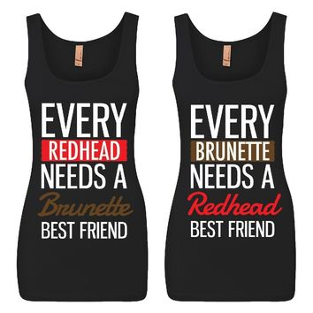 Every Brunette and Every Redhead Girl BFFS Jersey Tank Tops