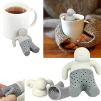 Mr. Tea Funny Relaxed Guy Silicone Tea Infuser Loose Tea Leaf Strainer Herbal Spice Filter