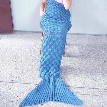 womens knitted sofa bedding mermaid tail blanket home christmas gift  number 1