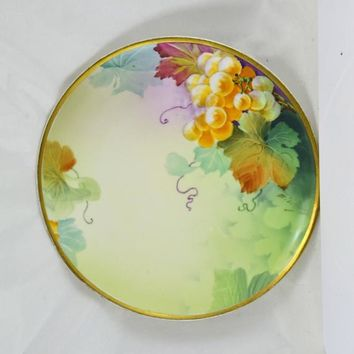 Porcelain Vienna Austria Plate - Ernst Wahliss - 1894 to 1918 Turns Vienna Mark - Hand Painted Grapes
