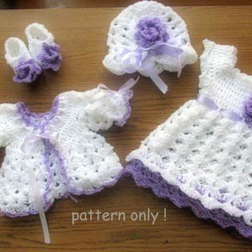 Baby sweater, dress, hat and shoes crochet PATTERN, includes 4 patterns in  5 size