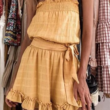 Sexy High Waist Pleated Strapless Rompers Shorts