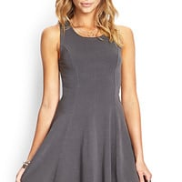 FOREVER 21 Soft Knit Skater Dress Dark Grey Large