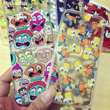 EVANKALX Funny Soft TPU 3D Cute Cartoon Eye Move Big Mouth Donut Cactus Popcorn Phone Case For iphone 6 6s 7 8 Plus Cover Back