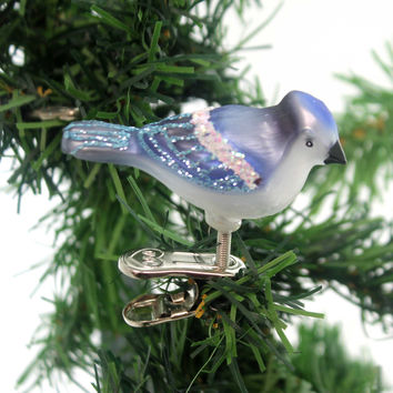 Old World Christmas MINI SONGBIRD Glass Happiness Joy Spring 18042 Bluebird