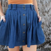 Vintage Renewal High Waist Denim Pleated Mini Skirt