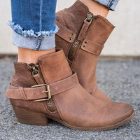 Emmett Not Rated Buckle Booties (Tan)