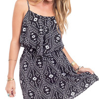 Black and White Printed Flounce Dress