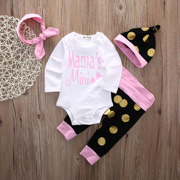 Lovely Infant Baby Girl Outfits Clothes Set Romper Long Sleeve Cute Pants Hat Leggings Baby Girls Clothing 4PCS Set
