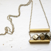 Faceted Peruvian Pyrite Necklace with Vintage by MineralogyDesign