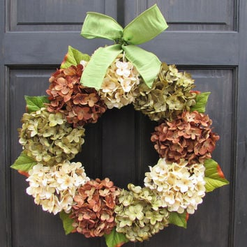 Green, Cream & Brown Hydrangea Wreath