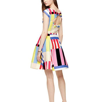 Kate Spade Multi Stripe Kite Bow Back Dress Flag Stripe
