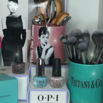 Audrey Hepburn inspired custom glass brush holder