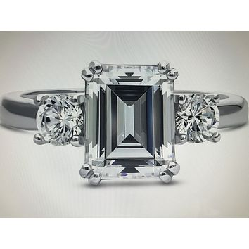 A Perfect 2.7CT Emerald Cut Solitaire Russian Lab Diamond Engagement Ring