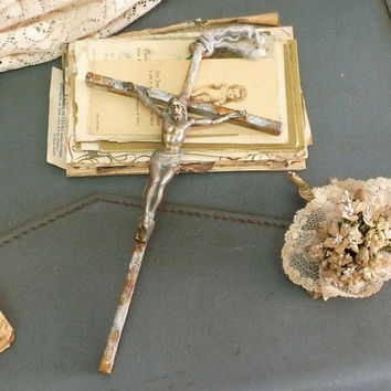 Vintage rusted Jesus Christ crucifix metal cross Aged vintage Jesus wall decor shabby chic crucifix