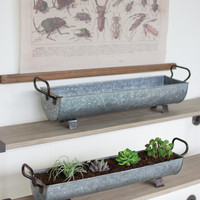 Set of 2 Oblong Zinc Planters with Brass Detail