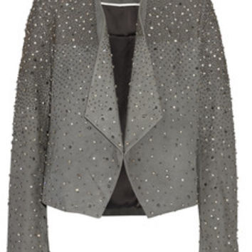 Alice + Olivia Oliver embellished suede jacket – 50% at THE OUTNET.COM