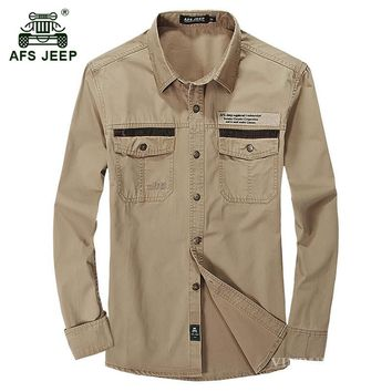 AFS JEEP 2017 Men's military large size khaki shirts man spring autumn war casual brand 100% cotton army green long sleeve shirt