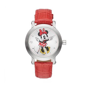Disney's Minnie Mouse Women's Leather Watch (Red)