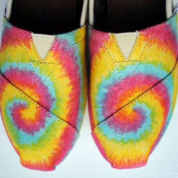 Tie Dye Pattern on Natural Canvas TOMS, Womens Hand Painted Custom TOMS shoes