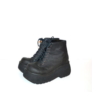 Vintage 90s Boots Black Platform Boots Chunky Heel Boots Rave Club Kid Grunge Goth Boots Ankle Boots Size 8