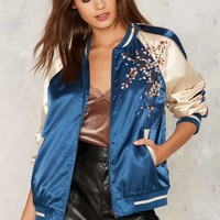 Wild Girl Embroidered Bomber Jacket