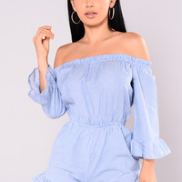 Lucinda Striped Romper - Blue/White