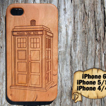 Tardis, Doctor Who, iPhone 6 5/5s 4/4s, Laser Engraved Wood Case