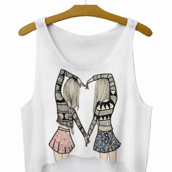 Best Friends Crop Top Summer Style Tank Top Women's Top