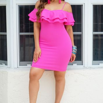 Jenny Hot Pink Frill Off The Shoulder Ruffled Bodycon Dress