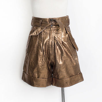 Vintage 1980s Short - Metallic Copper Leather High Waisted Pleated Shorts - Small