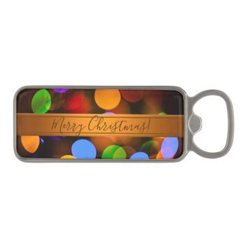 Multicolored Christmas lights. Add text or name. Magnetic Bottle Opener