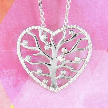 Heart-Shaped Tree of Life Necklace with Crystals