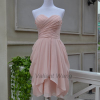 Blush Pink Sweetheart Chiffon Bridesmaid Dress Short Knee Length Ruffles Prom Dress