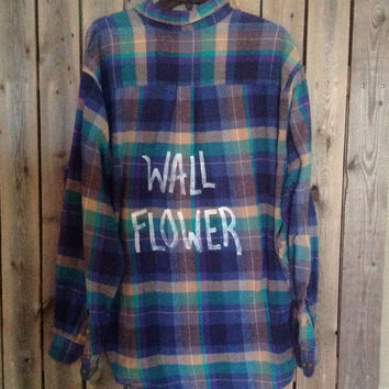 """Soft flannel plaid shirt hand painted with """"Wall Flower"""" .....soft grunge, hipster"""