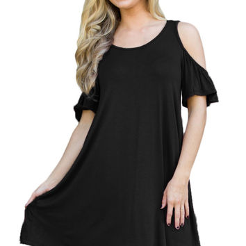 Black Naughty Cute Cold Shoulder Short Dress