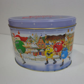 Retro Collectible Holiday M&M's Tin Box with Ice Skating Scene, Christmas Gift, 90s Nostalgia Treat Box