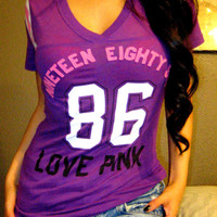 Victoria's Secret PINK JERSEY LOGO Purple Football Top Shirt Tunic Blouse XS
