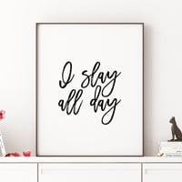 Beyoncé Quote Girl Room Decor I woke up like this Beyonce Queen B Beyonce formation Slay typographic art print home decor song lyrics print