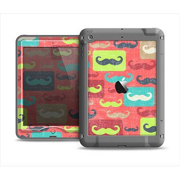 The Vintage Coral and Neon Mustaches Apple iPad Mini LifeProof Nuud Case Skin Set