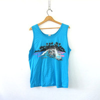 20% OFF SALE Vintage blue Hawaii tank top. Muscle Beach Bum Top. 1990s surfer tshirt