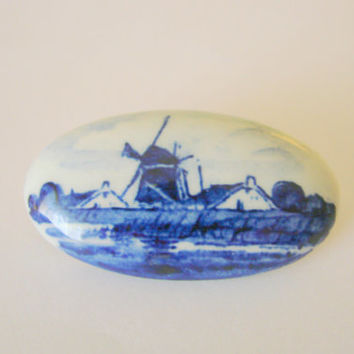 Vintage Signed Delft Hand Painted Ceramic Brooch / Holland / Blue / White / Jewelry / Jewellery