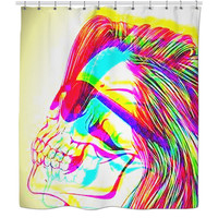 Rainbow skull shower curtain