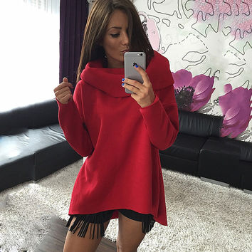 Christmas clothes 2015 New Arrival Women Winter Hoodies Scarf Collar Long Sleeve Fashion Casual Style Autumn Sweatshirts
