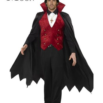 MOONIGHT Gothic Vampire Halloween Costume Victorian Masquerade Party Adult Men Evil Devil Costume Carnival Cosplay